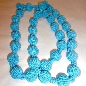 Jewelry - Hand-Beaded Ball Fun Statement Necklace Turquoise